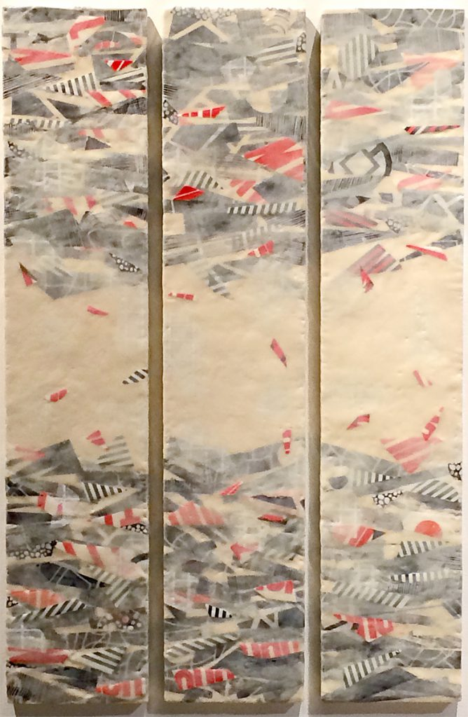 Unknown Known Unknown. Oil, Encaustic, paper on three panels. 36 x 48""