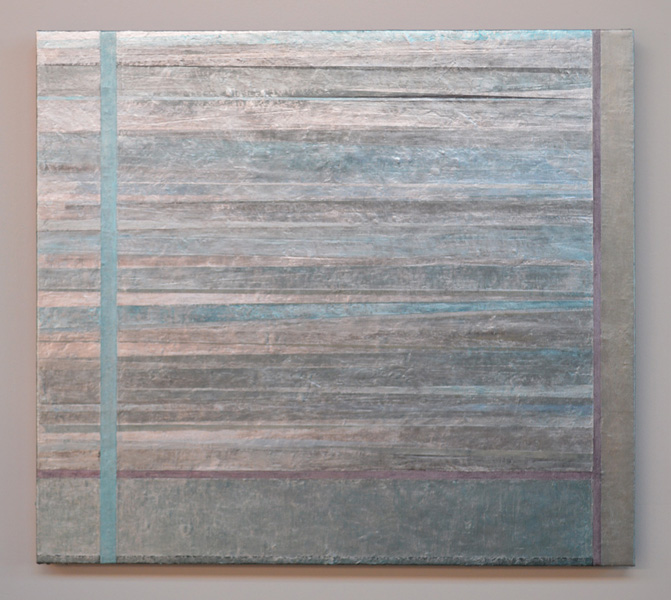 Scott Zagar: Open 1. Oil, dye, bleach on canvas. 34 x 32""